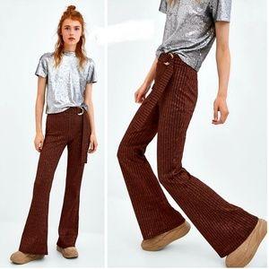 🆕️🍁ZARA NWOT Shimmer Metallic Belted Trousers